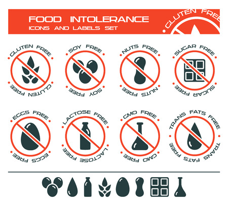 intolerance: Diet icons and labels, food intolerance such as gluten free, soy free, nuts free, sugar free, eggs free, lactose free, GMO free, trans fats free. Isolated on white background