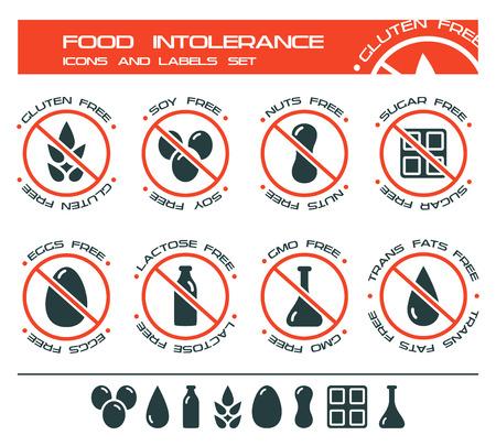 intolerancia: iconos y etiquetas de dieta, intolerancia a los alimentos como libres de gluten, soja libre, frutos secos, sin azúcar, huevos libres, libre de lactosa, libre de OMG, libre de grasas trans. Aislado en el fondo blanco Vectores