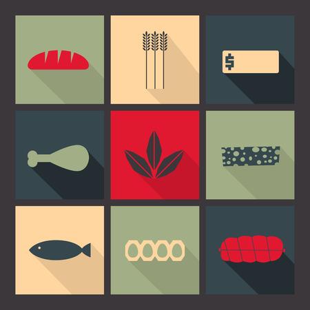 laconic: Flat icons set. Minimalism, varicolored, long shadow