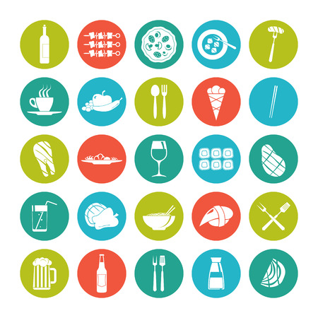 Icon set summer food in flat style on the color plate