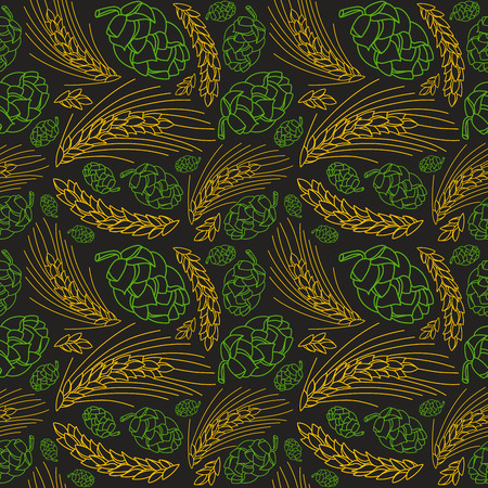 malt: Malt and cone hop seamless pattern. Ingredients for brewing beer. Color print on black  background Illustration