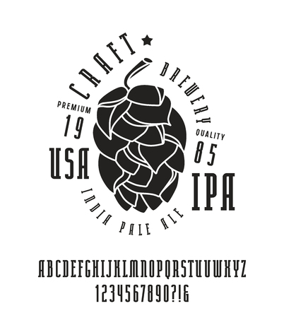brewery: Narrow serif font and craft brewery label. Bold face. Black print on white background Illustration