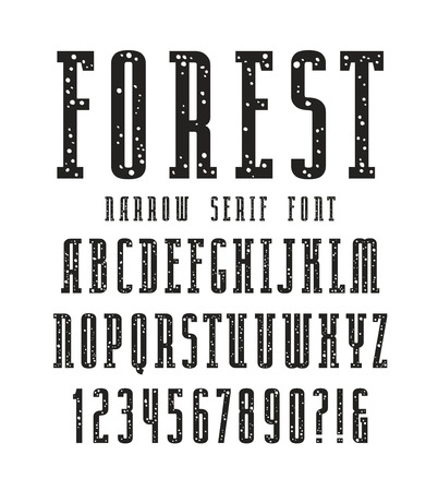 serif: Narrow serif font with speckled texture. Bold face. Black print on white background