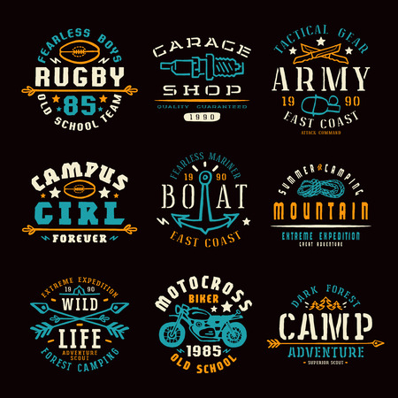motorcycling: Set of team sports, motorcycling, camping  and military emblems. Graphic design for t-shirt. Color print on black  background Illustration