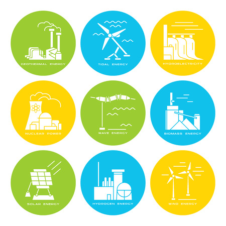 Stock vector set of web icons on electricity generation plants and sources. Illustration in flat style