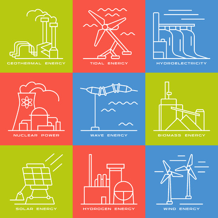 electricity generation: Stock vector set of web icons on electricity generation plants and sources. Illustration in thin line style