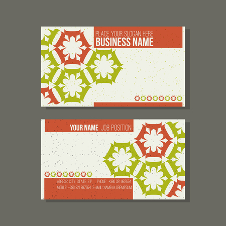honeycomb like: Business card template. With stylized floral ornament.