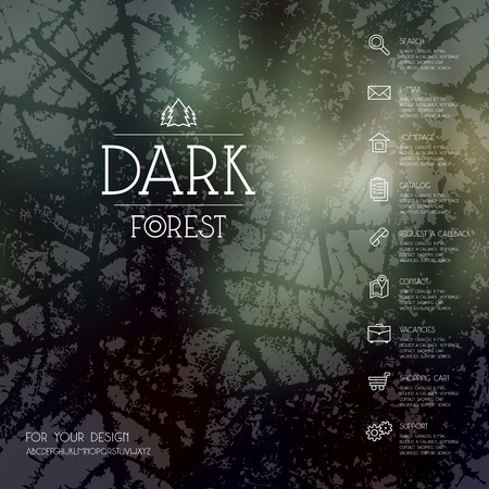 dark forest: Dark forest blurred background, business icons in thin line style and seamless pattern. Web and mobile interface template.