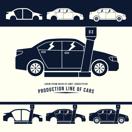 production line: Production line of cars. Monochrome illustration