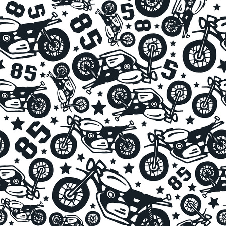 Seamless Pattern With Motorcycles Drawings Design For Your Textiles Amazing Pattern Backgrounds