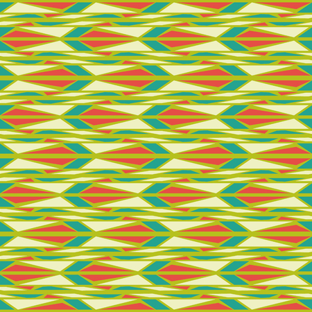 illusions: Bright geometrical seamless pattern, optical illusions. Green, orange and yellow colors Illustration
