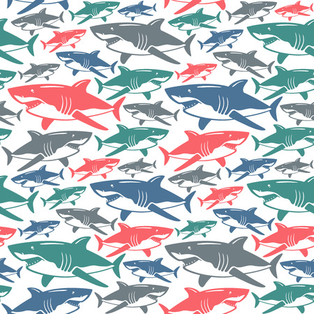 Shark seamless pattern. Color  print on white background  イラスト・ベクター素材