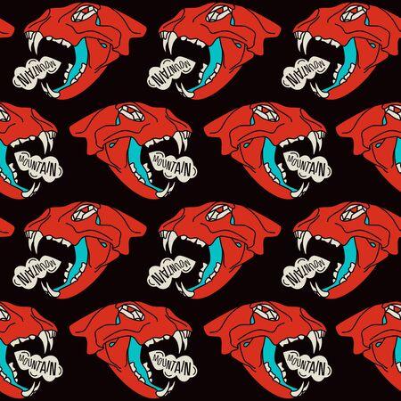 warlike: Skull animal  seamless pattern. Color print on  black  background