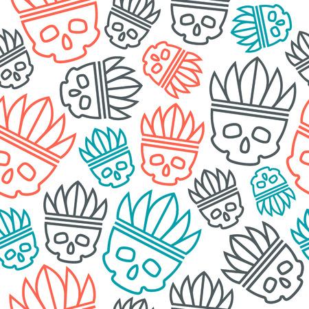 headdress: Seamless pattern skull in headdress  redskin. Color print on white background
