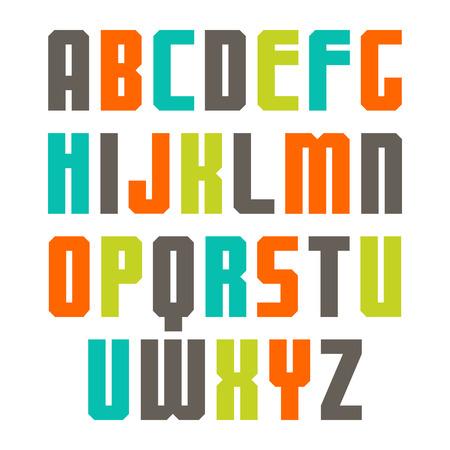 monumental: Sans serif font with colorful letters Illustration
