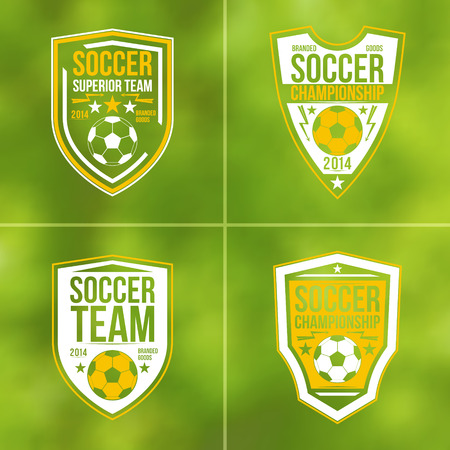 gridiron: Soccer championship emblems in flat style on blurred background Illustration