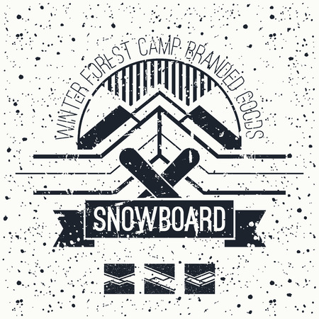 Snowboard retro emblem and design elements. Graphic design for t-shirt. Black print on a white background