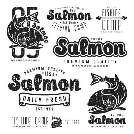 white salmon river: Set of fishing labels in retro style. Black print on white background