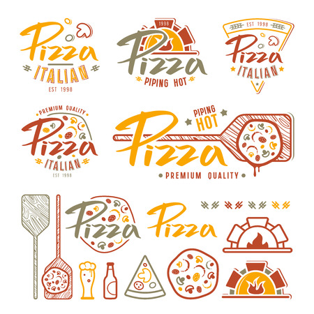 Set of pizzeria labels, badges, and design elements. Color print on white background Vettoriali