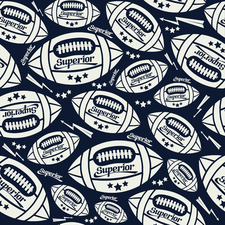 rebellious: Seamless pattern rugby ball in comic style. White pattern on a dark blue background Illustration