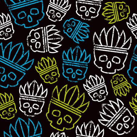 redskin: Seamless pattern skull in headdress  redskin. Color print on black background