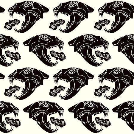 Skull animal  seamless pattern. Black print on  white background Illustration