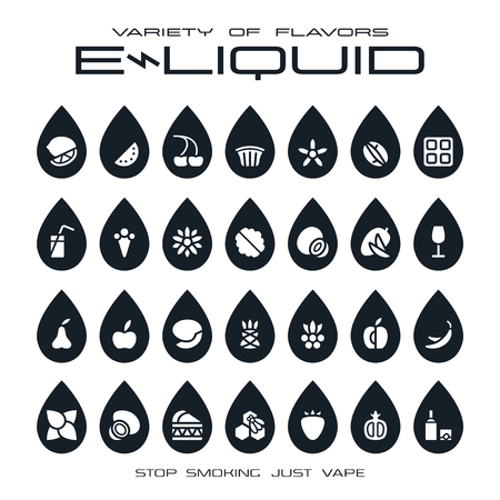eliquid: Vape shop e-liquid flavors icons in the form of drops. Black print on white background