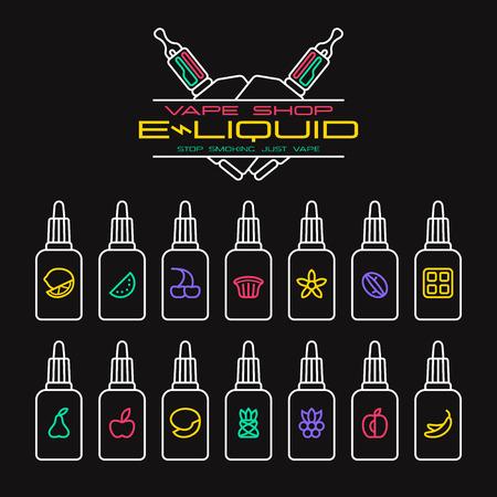 eliquid: Vape shop e-liquid flavors icons set in thin line style. Bright color on black background Illustration