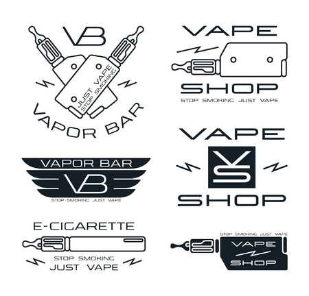 starter: Vapor bar and vape shop in thin line style. Isolated on white background