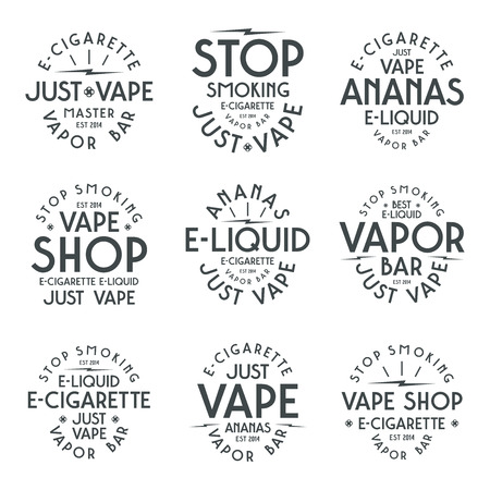 vapor: Vapor bar and vape shop typographic labels. Black print on white background Illustration