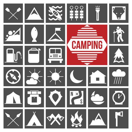 Symbole Camping und Wandern in Schablonenplatten Stil. Vektorgrafik