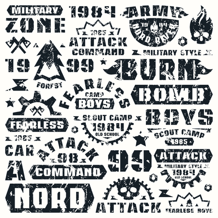 warlike: Military typographic elements with shabby texture. Graphic design for t-shirt. Black print on white background