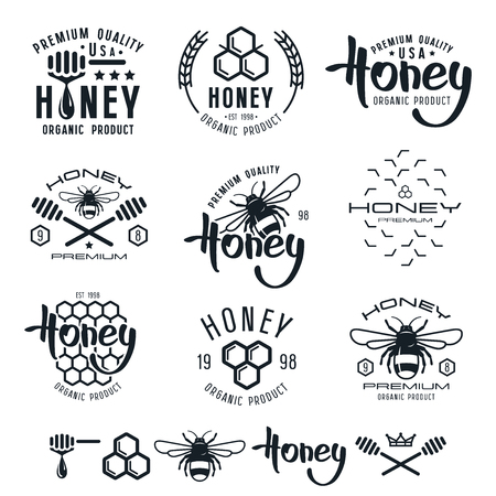 Set of honey labels, badges,  design elements. Black print on white background