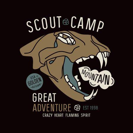 warlike: Scout camp emblem. Graphic design for t-shirt. Color print on black background Illustration