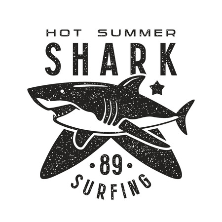 surfboard fin: Graphic design for t-shirt with the image of shark. Black print on white background
