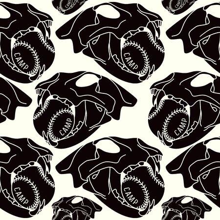 warlike: Skull animal  seamless pattern. Black print on  white background Illustration