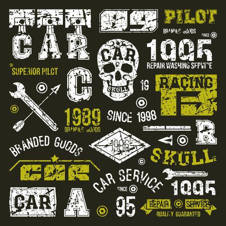 carreras de automóviles y tarjetas de servicio en estilo retro. Diseño gráfico para la camiseta. impresión de color sobre un fondo negro