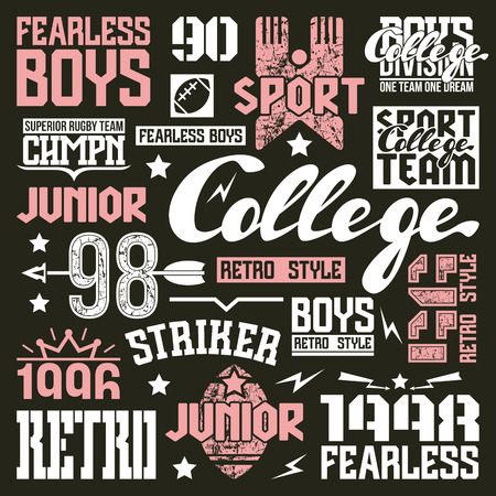 rugby team: College rugby team design elements in retro style. Trendy graphic design for t-shirt. Color print on a black background Illustration