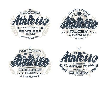 warlike: College rugby and soccer team emblems  for t-shirt. Print on white background