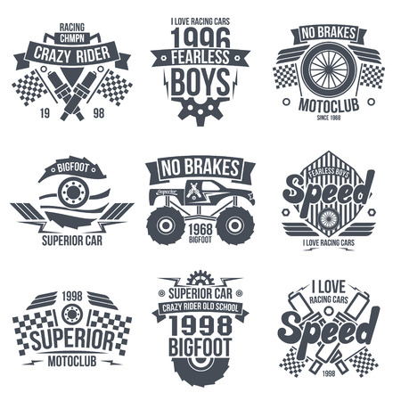 restrained: Emblems retro vintage race and super cars. Graphic design for t-shirt. Dark print on white background
