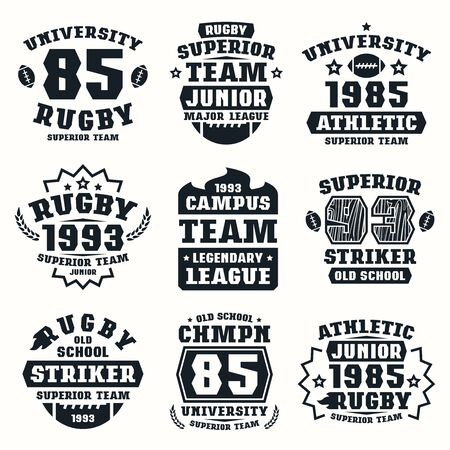 rugby team: Rugby team badges. Graphic design for t-shirt. Black print on white background