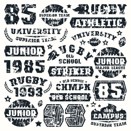 rugby team: Rugby team typographic elements with shabby texture. Graphic design for t-shirt. Black print on white background Illustration