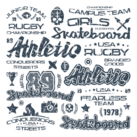 major league: Athletic elements with shabby texture. Graphic design for t-shirt. Black print on white background