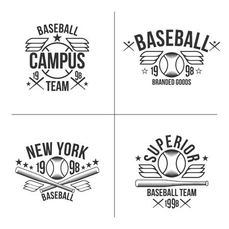 rebellious: Set of black emblems baseball team on white background