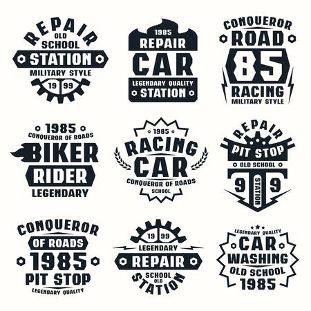 Car repair badges. Graphic design for t-shirt. Black print on white background