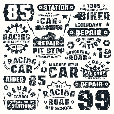 Car repair typographic elements with shabby texture. Graphic design for t-shirt. Black print on white background