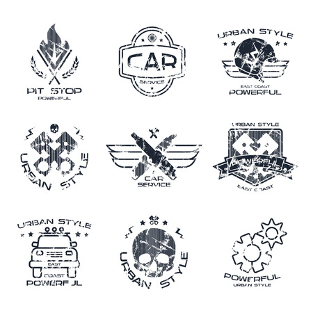 urban style: Car service badges in urban style with shabby texture. Graphic design for t-shirt. Black print on white background Illustration