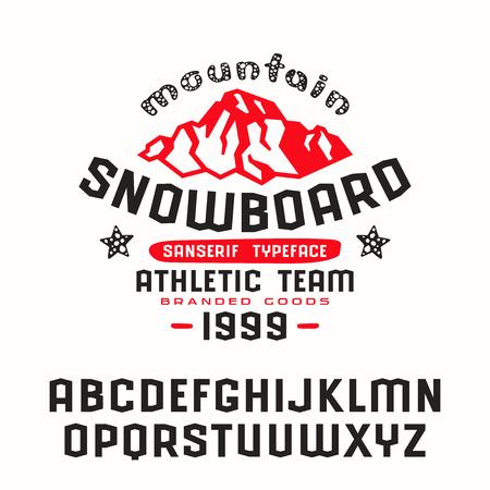 Angular sanserif font and snowboard print for t-shirt. Bold face