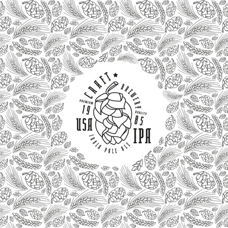 malt: Malt and cone hop pattern. Craft beer brewery label. Black print on white background