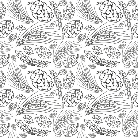 Malt and cone hop seamless pattern. Ingredients for brewing beer. Black print on white background Vettoriali